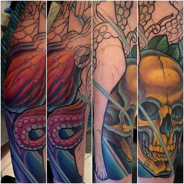 #terryribera #remingtontattoo #sandiego #sandiegotattooartist #stigmarotary @terryribera @remingtontattoo @stigma_rotary #skull #woman #roses #octopuss