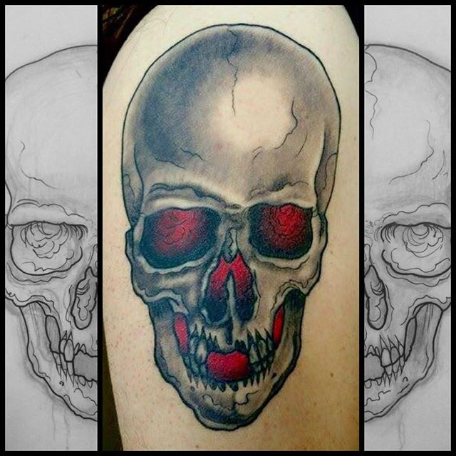 Skull tattoo by Jasmine Worth @jasmineworth at Remington Tattoo. Jasmine is currently apprenticing under Terry Ribera, to get tattooed by her at a discounted apprentice rate please email JasmineWorthTattoos@gmail.com Dark subject matter gets priority. Thank you! #remingtontattoo #darkart #darkartists #skulltattoo
