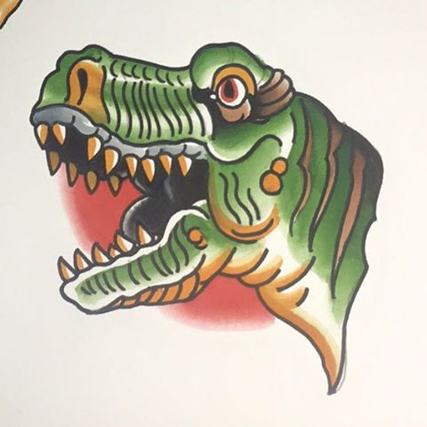 Who wants a dinosaur! Fresh design from @chriscockadoodledo available at the shop #tryannasaurusrex #dinosaurtattoo