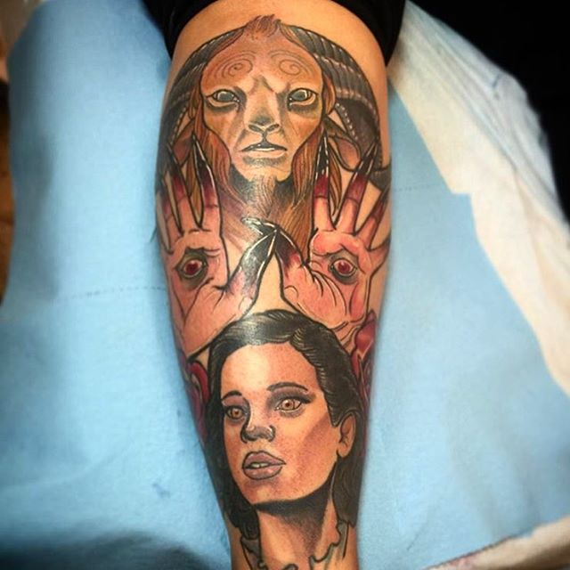 In progress shot of a #PansLabyrinth tattoo by Gustavo Razo #panslabyrinthtattoo #guillermodeltoro