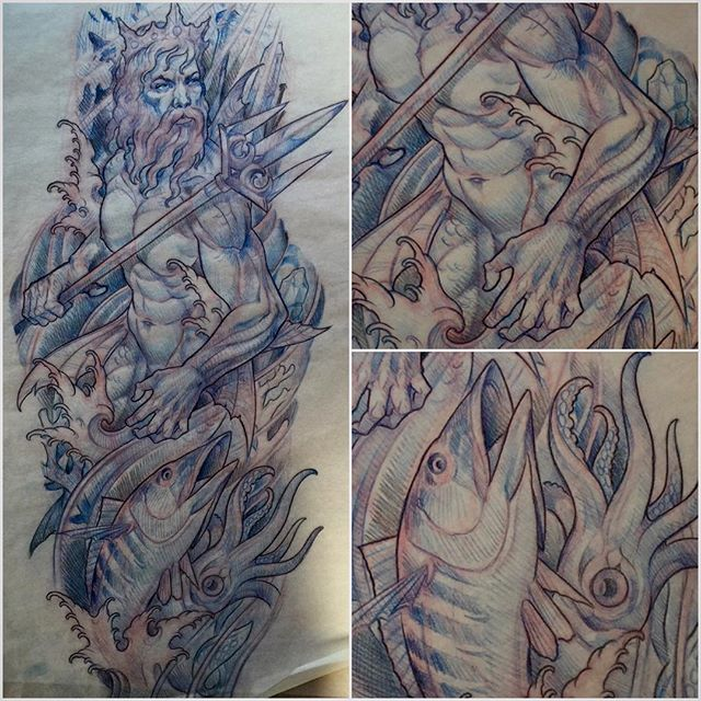 #terryribera #remingtontattoo #poseidon #neptune @terryribera @remingtontattoo #sandiego #northpark #sandiegotattooartist