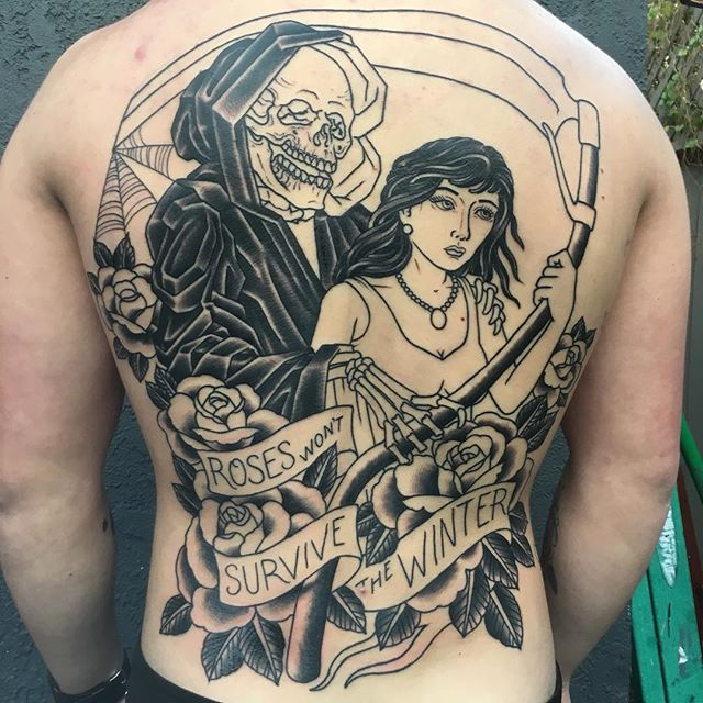 Grim reaper back piece in progress by @theblacktroll #remingtontattoo #shannonnordin #sandiego #sandiegotattooshop #grimreaper #backpiece #wip