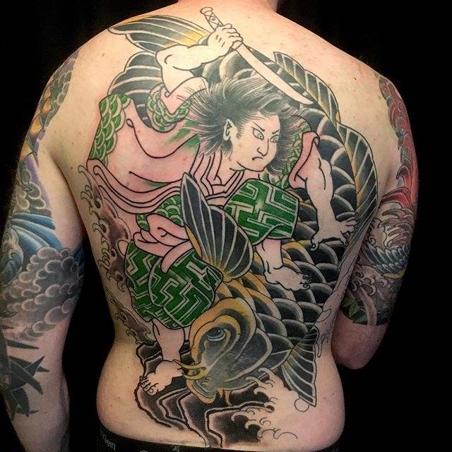 In progress shot of a Japanese backpiece frome @chriscockadoodledo #sandiegotattooshop #japanesetattoo #japanesetattoocollective #remingtontattoo #northpark #sandiego #sandiegotattooshop #sandiegotattoo