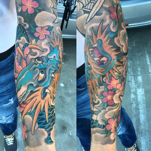 Awesome Dragon sleeve in progress by @theblacktroll #remingtontattoo #shannonnordin #sandiegotattooshop #sandiego #dragon #dragontattoo #japanesetattoo #northpark