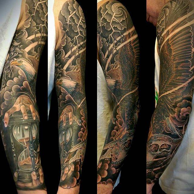 Tattoo by @bradburkhart #art #tattoo #tattoos #tattooart #remington #remingtontattoo #bradburkhart #bradburkharttattoos #eagle #eagletattoo #northpark #30thst #sandiegotattoo #sandiegotattooshop #sandiegotattooartist #sandiegoartist