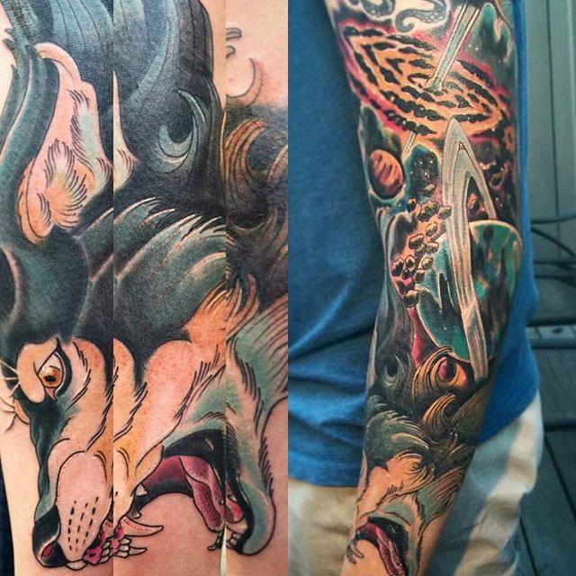 Interstellar wolf tattoo by @gust_razotattoos #art #tattoo #tattoos #tattooart #remington #remingtontattoo #gustrazo #gustrazotattoos #wolf #wolftattoo #planets #universe #vortex #northpark #30thst #sandiegotattoo #sandiegotattooshop #sandiegotattooartist #sandiegoartist #sandiego