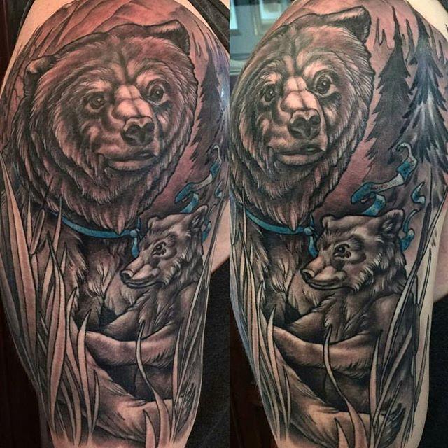 Tattoo by @nathanieltattoosd #art #tattoo #tattoos #tattooart #remington #remingtontattoo #nathanielgann #nathanielganntattoo #bearcub #beartattoo #northpark #30thst #sandiegotattoo #sandiegotattooshop #sandiegotattooartist #sandiegotattoo #sandiego #sandiegoartist