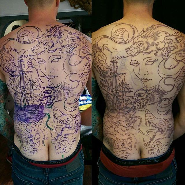 Scylla and Charybdis Back piece in progress by @bradburkhart #tattoo #tattoos #tattooart #wip #remington #remingtontattoo #bradburkhart #bradburkharttattoos #northpark #30thst #sandiegotattoo #sandiegotattooshop #scylla #charybdis #sandiegotattooartist #sandiegoartist #sandiego