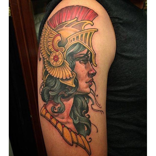 Athena tattoo by @nathanieltattoosd #remingtontattoo #nathanielgann #sandiegotattoos #northpark #athena