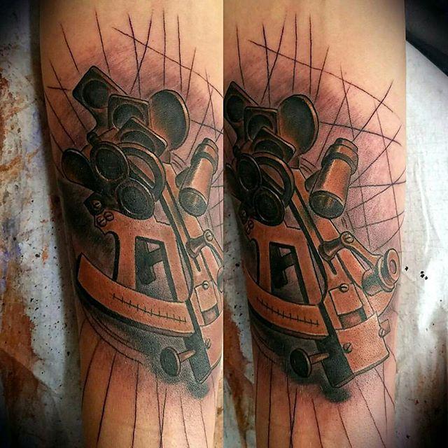 Sextant Tattoo by @bradburkhart #tattoo #tattoos #tattooart #remington #remingtontattoo #bradburkhart #sextant #bradburkharttattoos #northpark #30thst #sandiegotattoo #sandiegotattooshop #sandiegotattooartist #sandiegoartist #sandiego