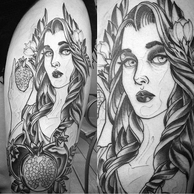 Persephone tattoo in progress by @gust_razotattoos #tattoo #tattoos #tattooart #wip #persephone #persephonetattoo #pamogranate #blackpaperandgraytattoo #northpark #30thst #sandiegotattoo #sandiegotattooshop #sandiegotattooartist #sandiegoartist #sandiego i