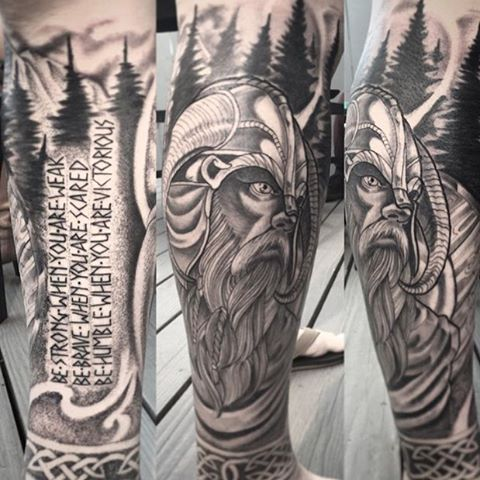 Viking leg piece by @gust_razotattoos #remingtontattoo #gustrazotattoos #sandiegotattoos #northparksandiego #vikingtattoo
