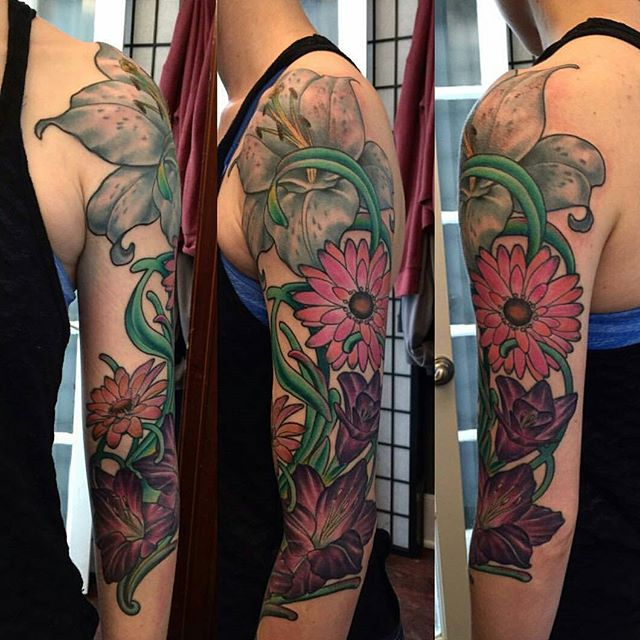 Tattoo by @nathanieltattoosd #tattoo #tattoos #tattooart #remington #remingtontattoo #nathanielgann #nathanielganntattoo #custometattoo #flowers #flowertattoo #northpark #30thst #myrtleave #sandiegotattoo #sandiegotattooshop #sandiegotattooartist #sandiegoartist #sandiego