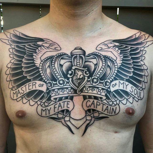 Chest piece in progress by @theblacktroll #tattoo #tattoos #tattooart #remington #remingtontattoo #shannonnordintattoos #shannonnordin #northpark #30thst #myrtleave #sandiegotattoo #sandiegotattooshop #sandiegotattooartist #sandiegoartist #sandiego
