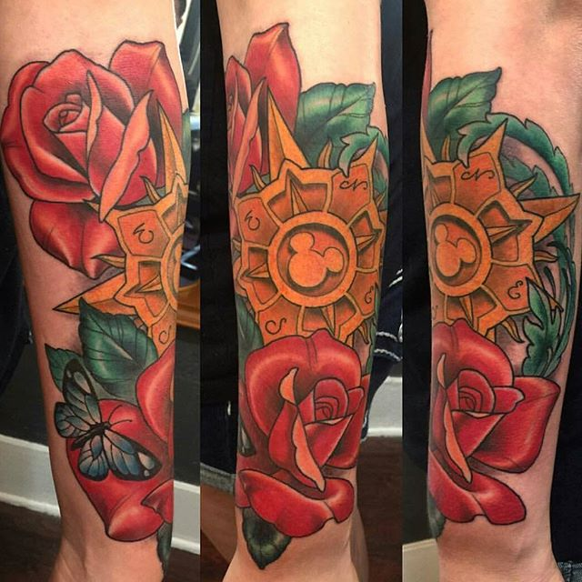 Compass and Roses Tattoo