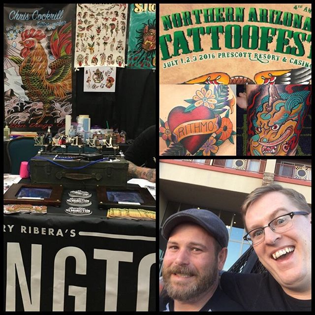 @chriscockadoodledo #chriscockrill @theblacktroll #shannonnordin at the @northernaztattoofest #northernarizonatattoofest this weekend July 1st-3rd representing @remingtontattoo #remingtontattoo come get tattooed!