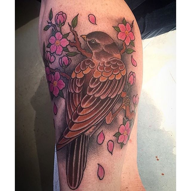 Done by @alessioricci #alessioricci #tattoo #tattoos #remingtontattoo #northpark #sandiego #sandiegotattoo #cherryblossoms
