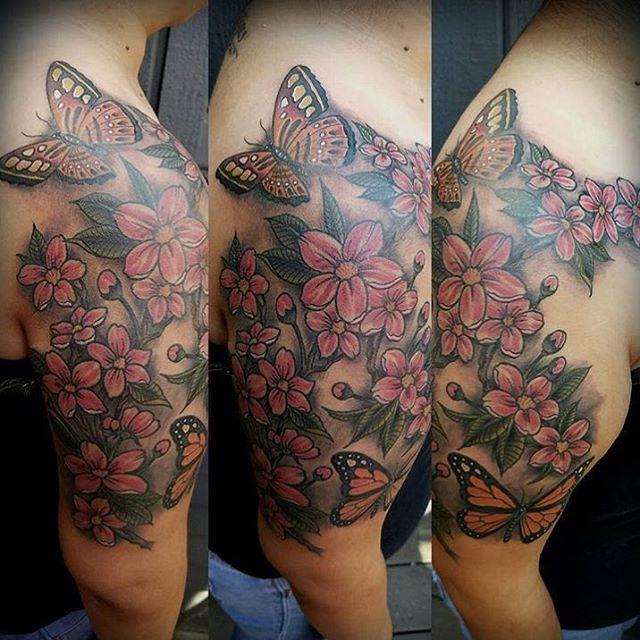 Some cherry blossoms and butterflies by @bradburkhart #tattoo #tattoos #remingtontattoo #northpark #sandiego #sandiegotattooartist