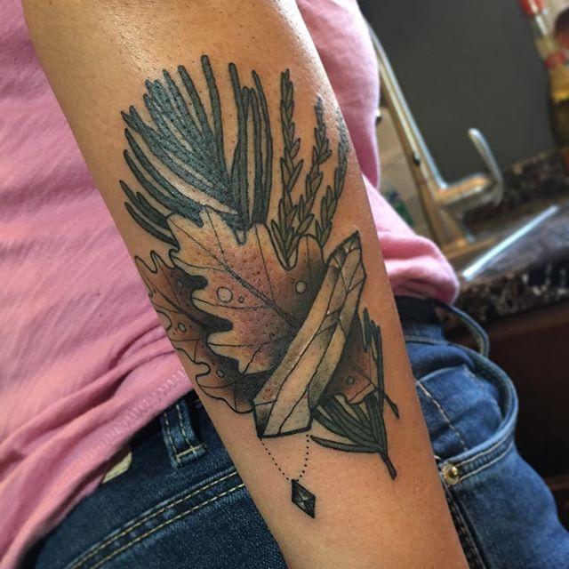 """Health"" spell tattoo. Custom spell tattoos by Jasmine Worth, Remington Tattoo's resident witch email her at JasmineWorthTattoos@gmail.com to set up your spell tattoo today. #spelltattoo #crystaltattoo #charmtattoo #witchtattoo #pagantattoo #herbtattoo @jasmineworth"