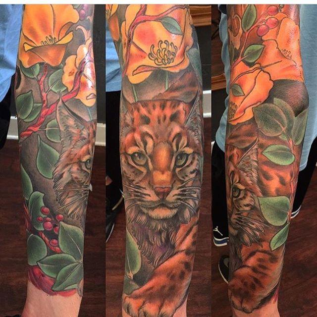 Bobcat piece done by @nathanieltattoosd #tattoo #tattoos #remingtontattoo #northpark #sandiego #sandiegotattoo #sandiegotattooartist #bobcattattoo