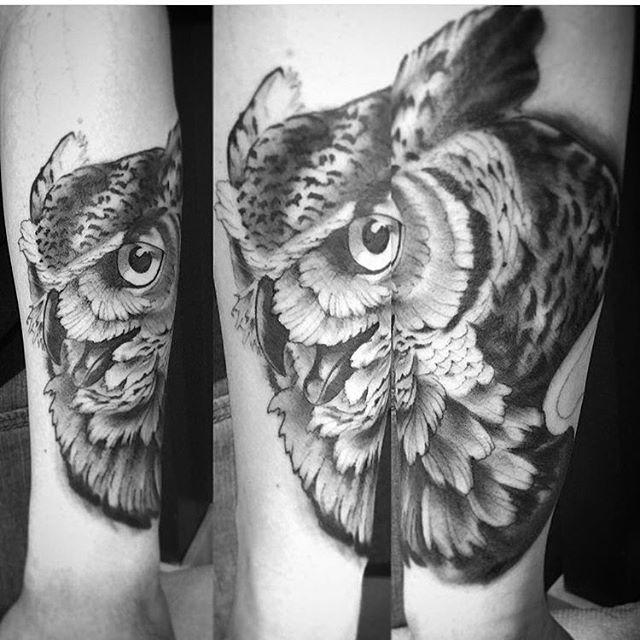 First session on this owl by @gust_razotattoos #tattoo #tattoos #owltattoo #remingtontattoo #northpark #sandiego #sandiegotattooartist