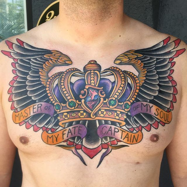 Crown and wings chest piece by @theblacktroll #shannonnordin #sandiegotattooshop #sandiego #remingtontattoo #invictus #northpark