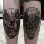 Dotwork Skull and Sigils Tattoo