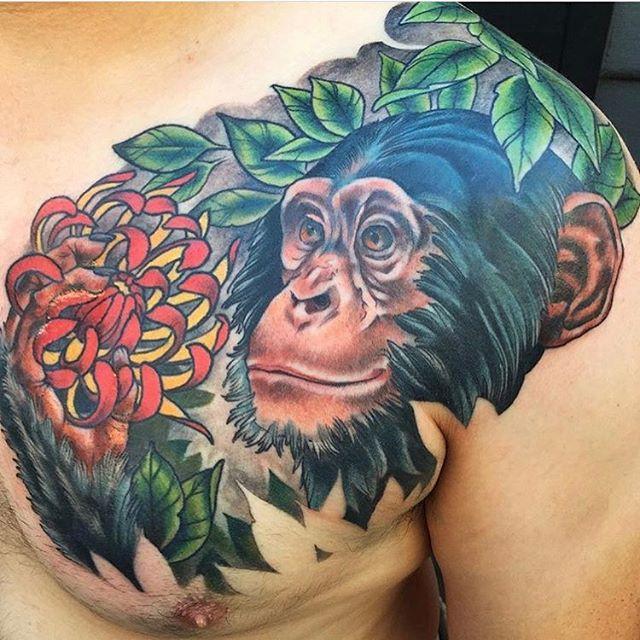 Chimpanzee tattoo by @nathanieltattoosd #chimptattoo #chimpanzeetattoo #monkeytattoo #flowertattoo #northpark #sandiegotattoo #sandiegotattooartist
