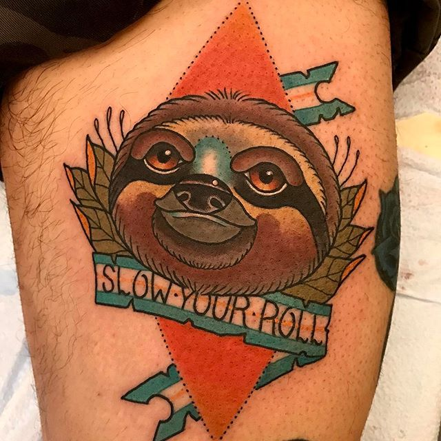 Sloth tattoo by @jasmineworthtattoos to book an appointment email her at JasmineWorthTattoos@gmail.com #slothtattoo #neotradsub #neotraditional #neotraditionaltattoo #slowyourroll #sandiegotattoo #sandiegotattooartist #remingtontattoo