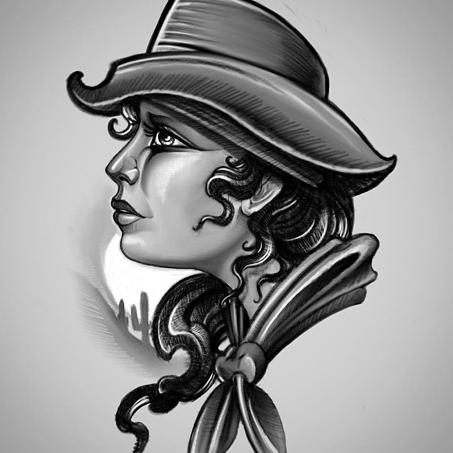 Cowboy Girl Tattoo Sketch